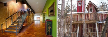 Both this green hallway (left), and treehouse, are meeting places inspired by nature.