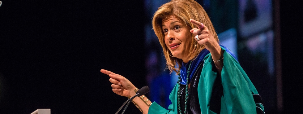 NEW ORLEANS, LA - MAY 14:  Hoda Kotb delivers Tulane University Commencement address at The Mercedes-Benz Superdome on May 14, 2016 in New Orleans, Louisiana.  (Photo by Josh Brasted/Getty Images)