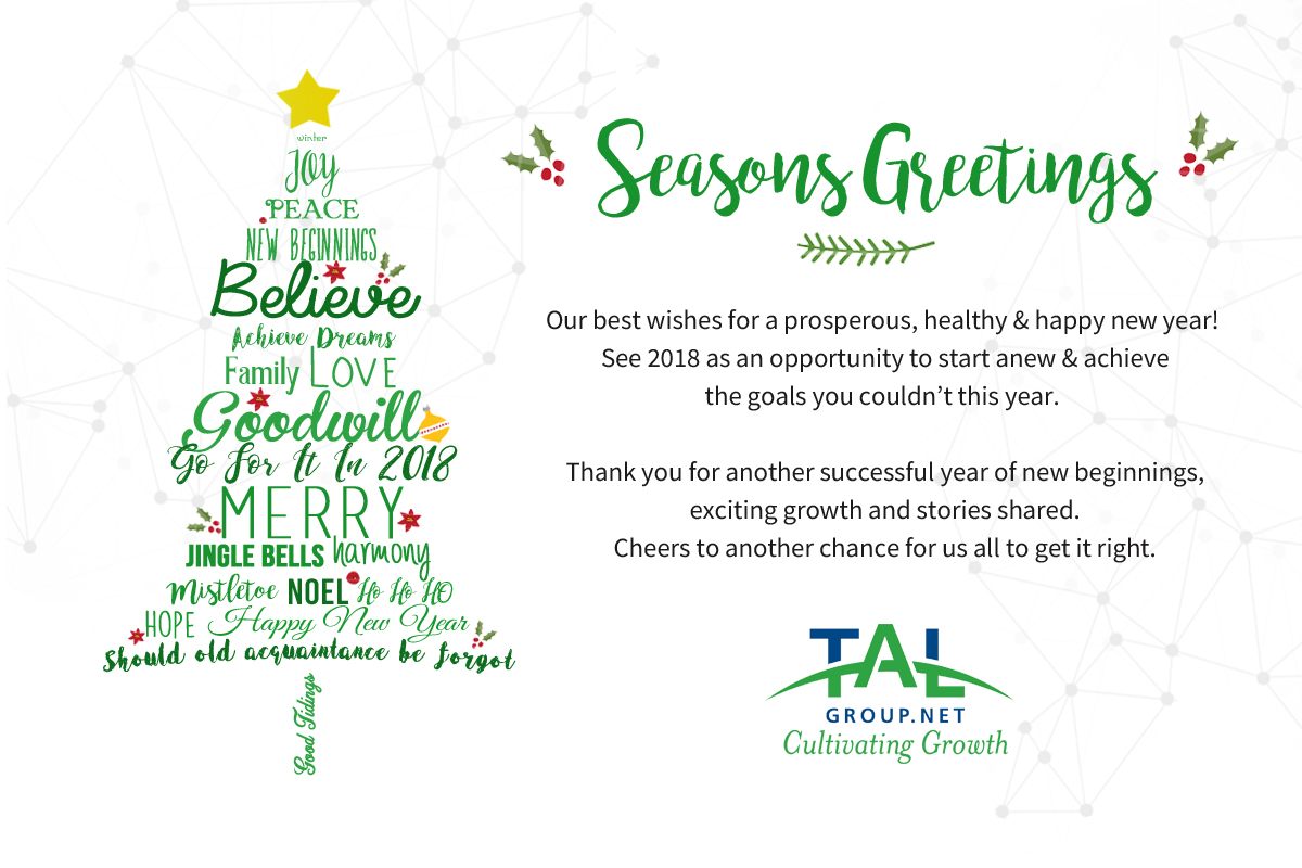 Happy Holidays Prosperous New Year Tal Group Inc